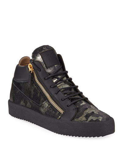 Men's Camo Double-Zip Mid-Top Sneakers