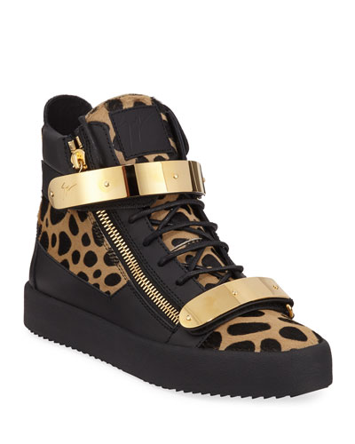 Men's Leopard High-Top Calf Hair Sneakers