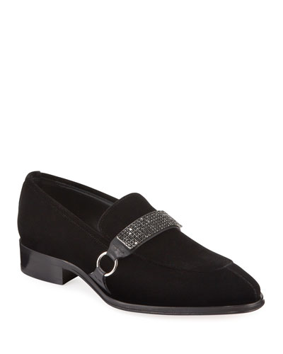 Men's Seattle Crystal-Strap Velvet Loafers