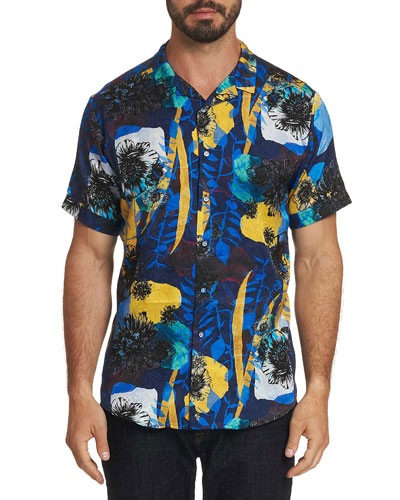 Men's Hercules Floral-Print Short-Sleeve Sport Shirt