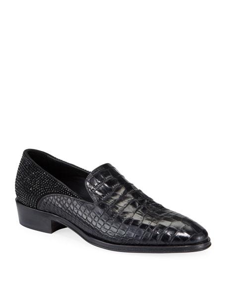 Giuseppe Zanotti Men's Seattle Embossed Leather Slip-On Loafers