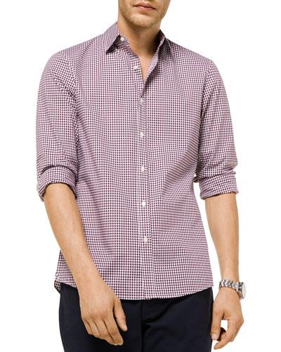 Men's Striped Plaid Trim-Fit Sport Shirt