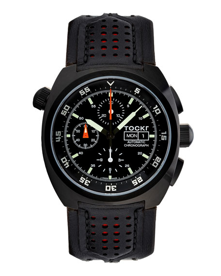 Tockr Watches Men's 45mm Air Defender Chronograph Watch, Black