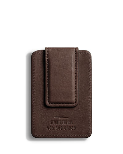 Men's Leather Card Case with Magnetic Money Clip