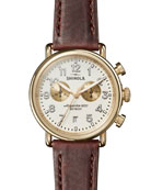 Shinola Men's 41mm Runwell Chronograph Watch, Brown/White
