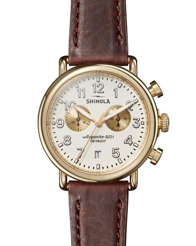 Men's 41mm Runwell Chronograph Watch, Brown/White