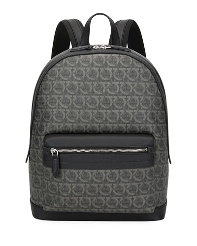 Men's Gancini Leather-Trim Backpack