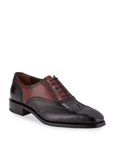 Men's Tramezza Two-Tone Brogue Leather Oxford Shoes