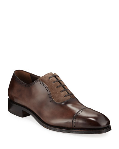 Men's Brawell Tramezza Two-Tone Leather Derby Dress Shoes