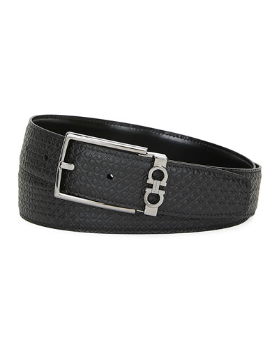 Men's Gancini-Embossed Leather Belt