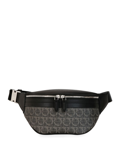 Men's Gancini-Print Leather Belt Bag/Fanny Pack