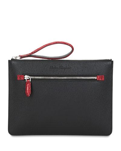 Men's Crocodile Revival Textured Leather Pouch Bag