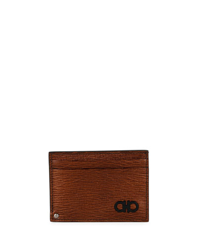 Men's Revival Gancini Card Case with Pull-Out Window