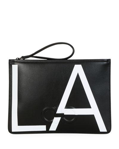 Men's City LA Leather Pouch Bag