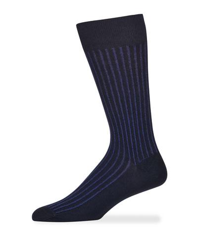 Men's Reverso Pinstripe Cotton Socks