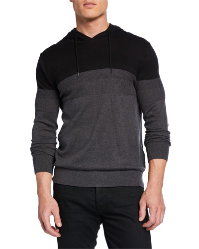 Men's Textured Stripe Pullover Hoodie