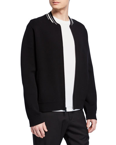 Men's Zip-Front Varsity Jacket with Contrast Collar