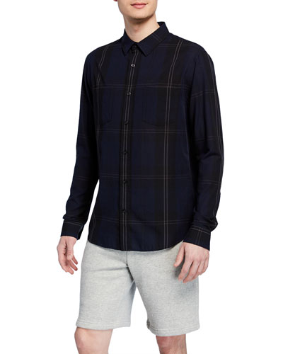 Men's Linen-Blend Plaid Sport Shirt