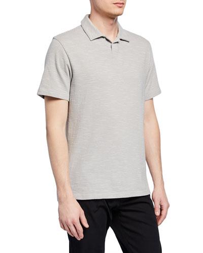 Men's Striped Short-Sleeve Cotton Polo Shirt
