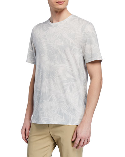 Men's Tonal Palm-Print Short-Sleeve Crewneck Tee