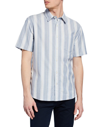 Men's Variegated Stripe Woven Sport Shirt