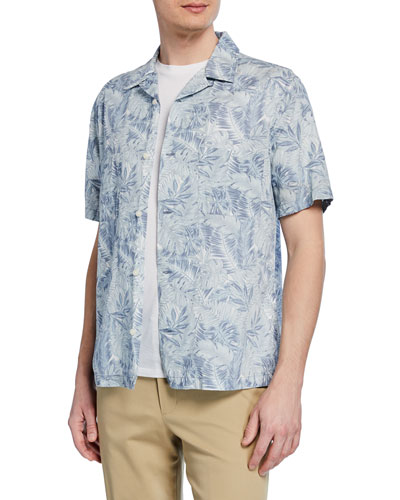 Men's Short-Sleeve Double Face California Print Shirt