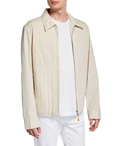 Men's Quilted Cotton/Nylon Zip-Front Hooded Jacket