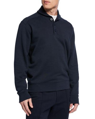 Men's Shawl-Collar Long-Sleeve Henley Top