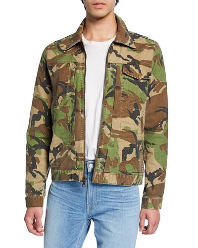 Men's Camo Twill Zip-Front Jacket