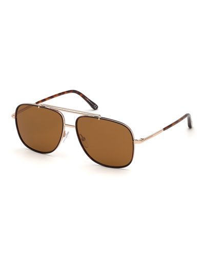 Men's Rose Golden Aviator Sunglasses