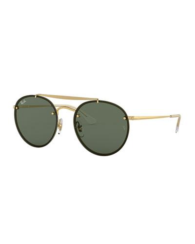 Men's Blaze Round Lens-Over-Frame Metal Sunglasses