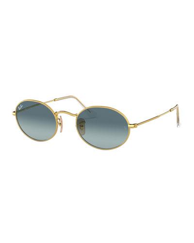 Men's Gradient Oval Metal Sunglasses