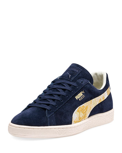 Men's MIJ Suede Low-Top Sneakers with Kimono Formstrip