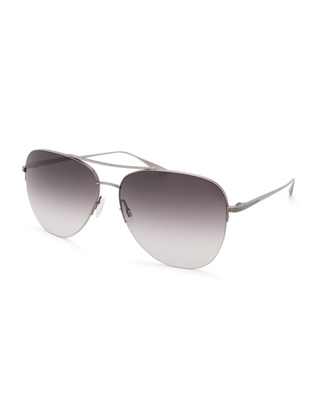 Barton Perreira Men's Chevalier Aviator Sunglasses - Pewter Smolder