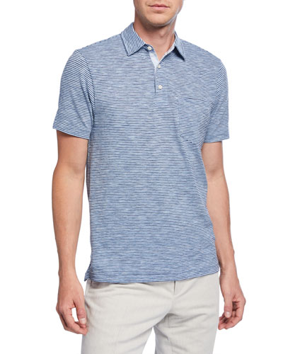 Men's Heathered Stripe Polo Shirt