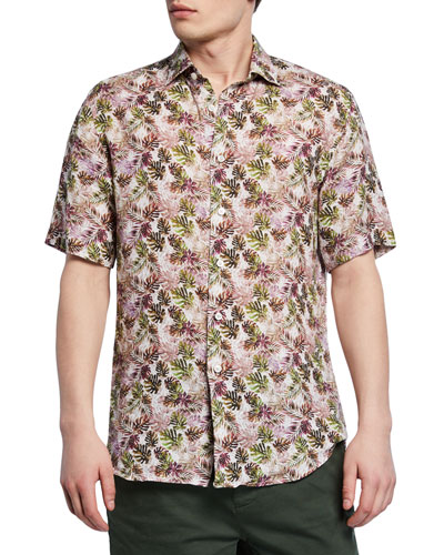 Men's Palm Leaf-Print Short-Sleeve Sport Shirt