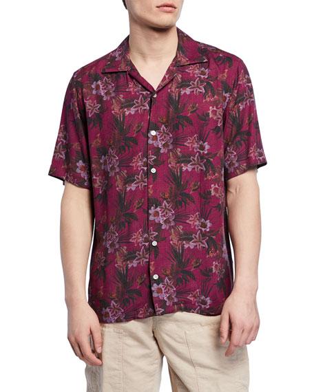 Neiman Marcus Men's Pink Floral Short-Sleeve Sport Shirt