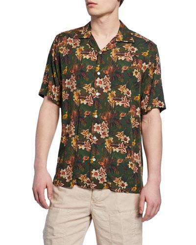 Men's Green Floral Short-Sleeve Sport Shirt