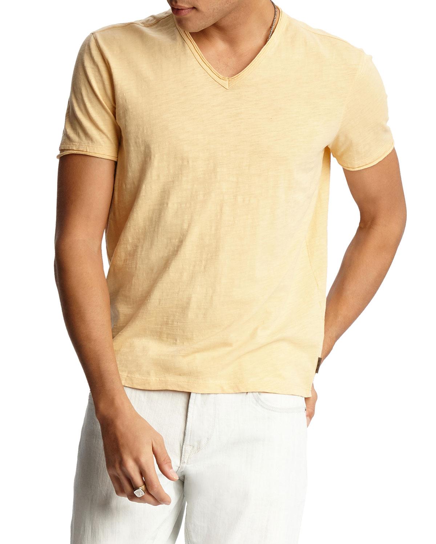 John Varvatos T-shirts MEN'S MILES V-NECK SHORT-SLEEVE SLUB COTTON T-SHIRT
