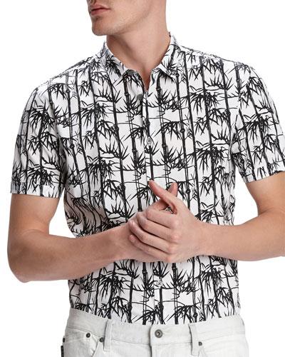 Men's Jasper Bamboo-Print Short-Sleeve Sport Shirt
