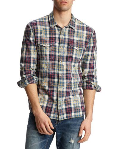Men's Marshall Plaid Bleach Wash Western Shirt