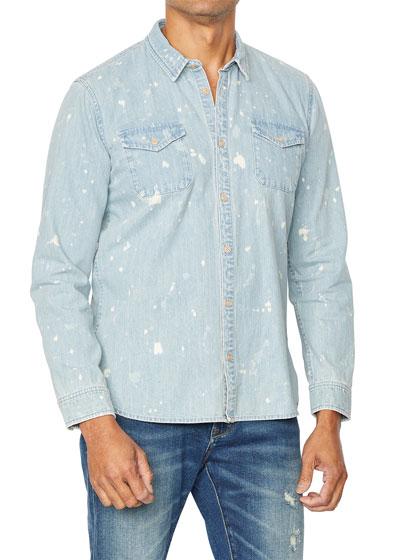 Men's Dale Splatter Wash Long-Sleeve Denim Shirt