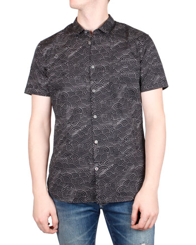 Men's Jasper Sashiko-Print Short-Sleeve Sport Shirt