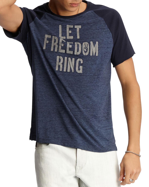John Varvatos T-shirts MEN'S LET FREEDOM RING CREWNECK RAGLAN-SLEEVE T-SHIRT