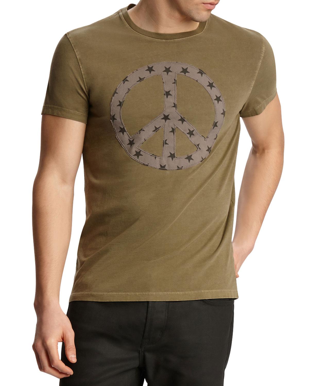 John Varvatos T-shirts MEN'S STAR PEACE SIGN SHORT-SLEEVE GRAPHIC T-SHIRT