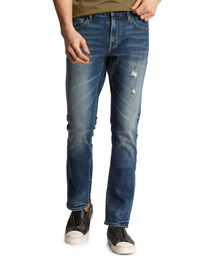 Men's Bowery Roadie Wash Slim Distressed Stretch Denim Jeans