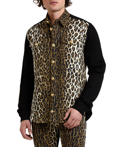 Men's Twill Leopard-Print Shirt Jacket