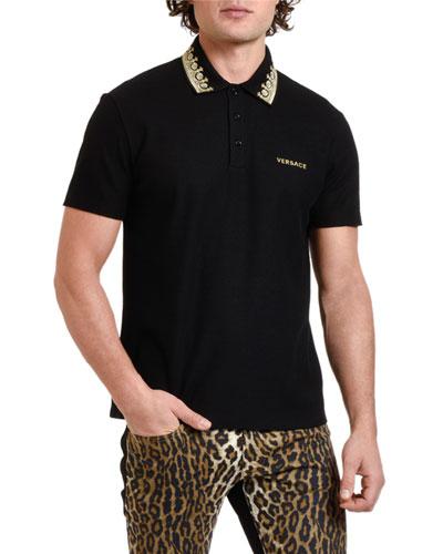 Men's Pique Polo Shirt with Embroidered Collar