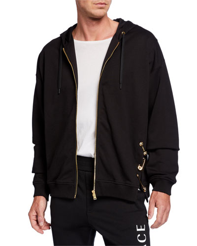 Men's Safety-Pin Zip-Front Hoodie