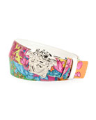 Versace Men's Barocco-Print Leather Belt with Medusa Buckle